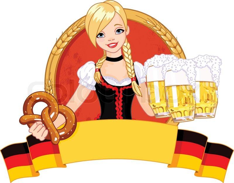 Funny Guard Clip Art: Illustration Of Funny German Girl Serving Beer