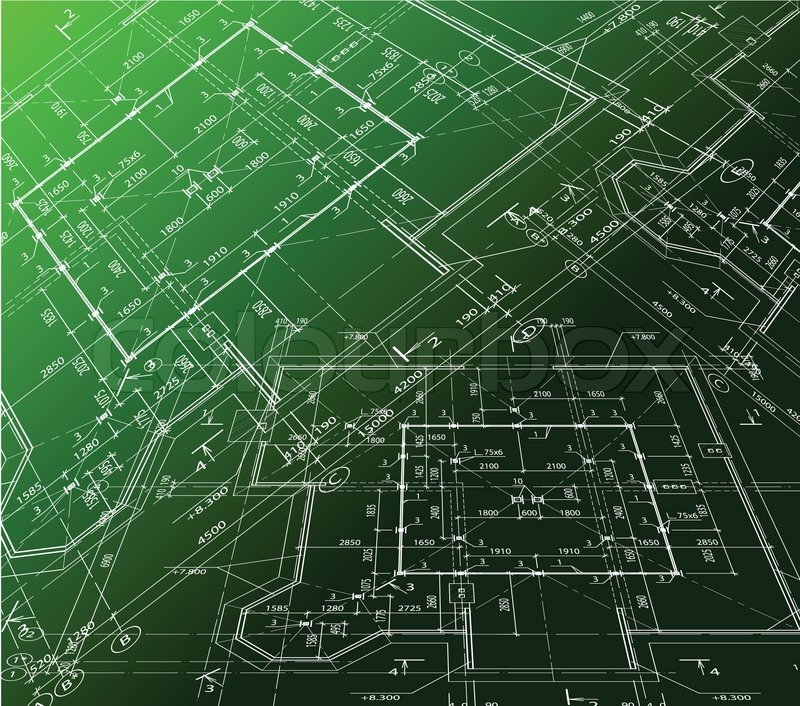 House Plan On Green Background Vector Blueprint Stock