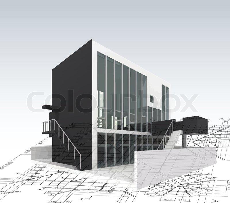 Architektur modell haus mit plan und blaupausen vektor - Architektur plan ...