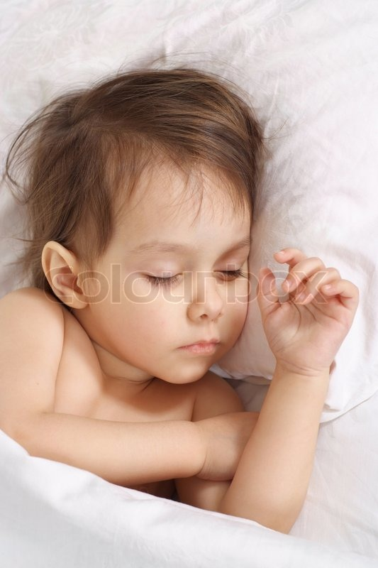 Stock image of 'Pretty little girl sleeping at home'