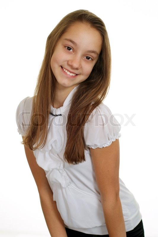 Portrait Of A Happy Young Girl Standing  Stock Image  Colourbox-3988