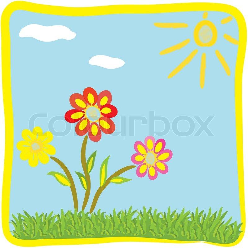 Childish cartoon floral greeting card | Stock Vector | Colourbox