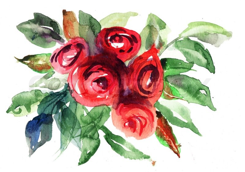 Beautiful Roses Flowers Watercolor Painting Stock Photo