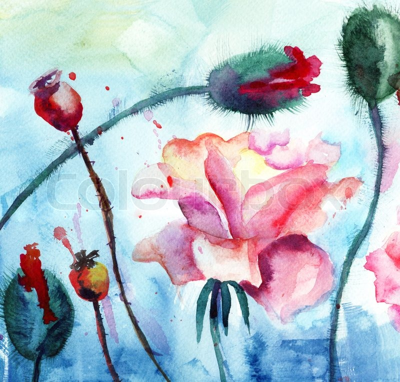 Roses with poppy flowers watercolor painting stock photo colourbox mightylinksfo