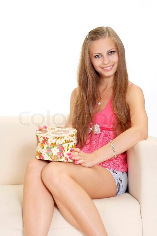 Charming teen in a pink blouse stock photo colourbox - Charming teenage girls image ...