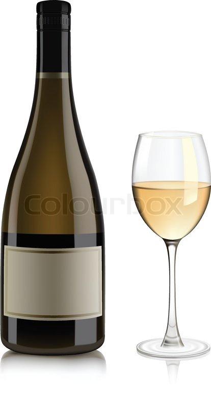 White wine bottle | Stock Vector | Colourbox