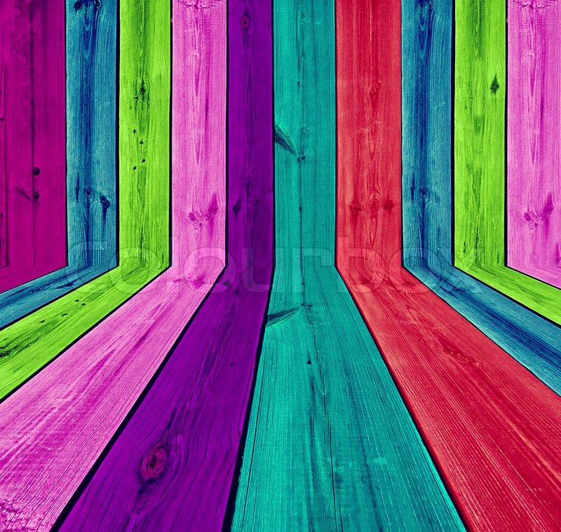 Vibrant multicolored wooden room as background stock - Vibrant background ...