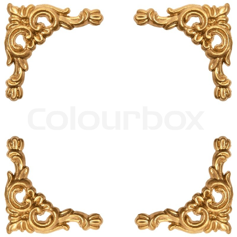golden elements of carved frame on white stock photo
