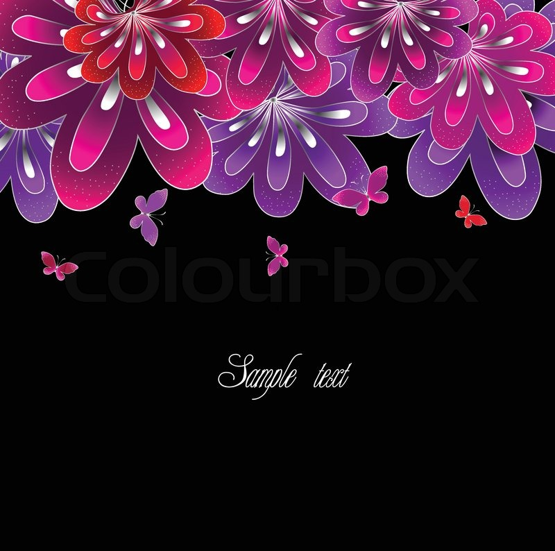 Flower pink on black background vector stock vector colourbox mightylinksfo