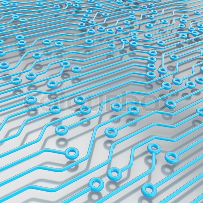 Stock image of 'Microcircuit blue chip scheme over metal surface as technology and science abstract background'
