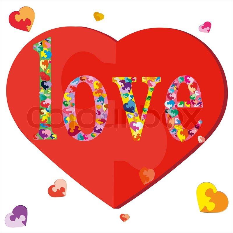 Puzzle Hearts And Love Symbol Stock Vector Colourbox