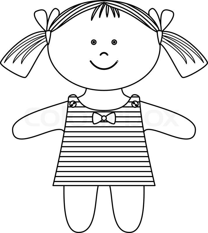 Ragdoll, girl, contours   Stock Vector   Colourbox  Ragdoll, girl, ...