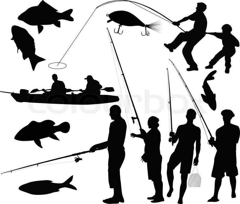People fishermen fishing | Stock Vector | Colourbox