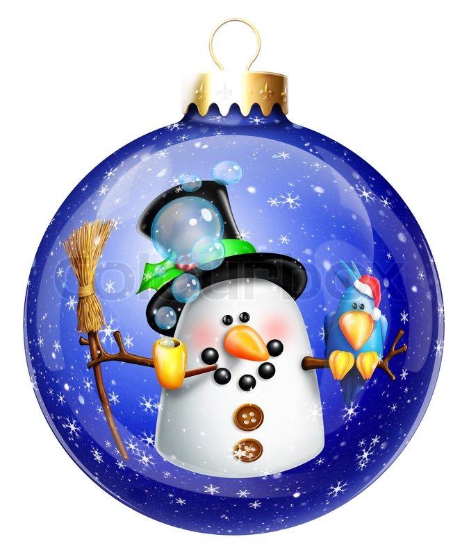 whimsical snowman christmas ball ornament stock photo colourbox