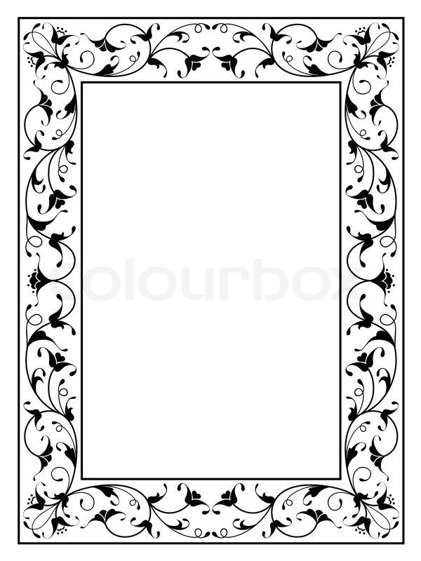 orientalisch floral ornament schwarz dekorrahmen vektorgrafik colourbox. Black Bedroom Furniture Sets. Home Design Ideas