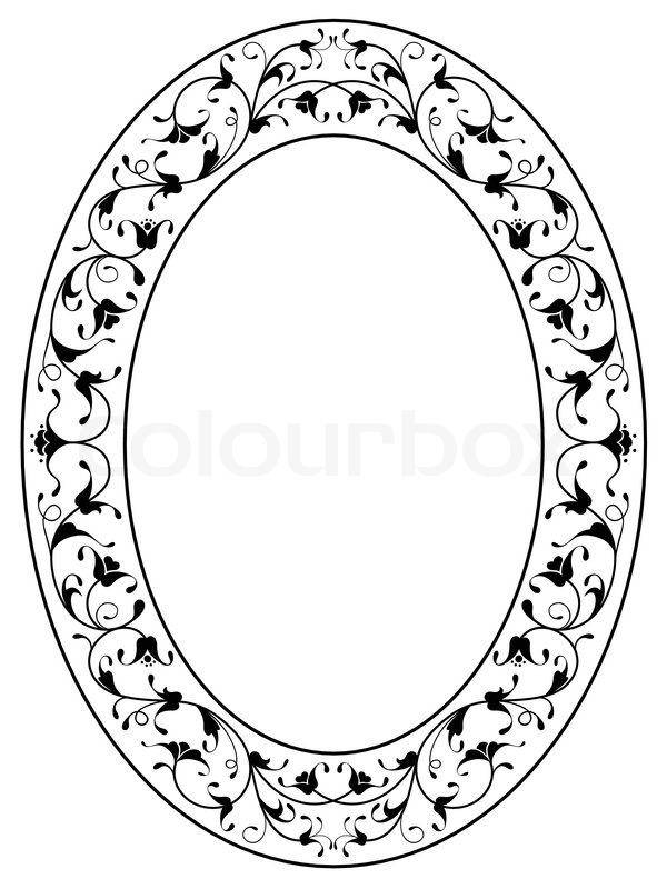Oriental floral ornamental black oval frame | Stock Vector | Colourbox