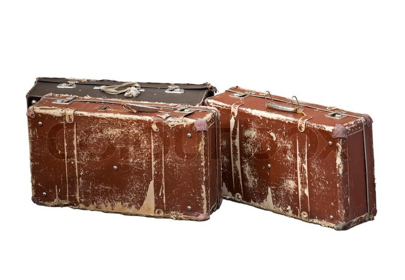 Old brown cheap suitcases for travel isolated on white | Stock ...