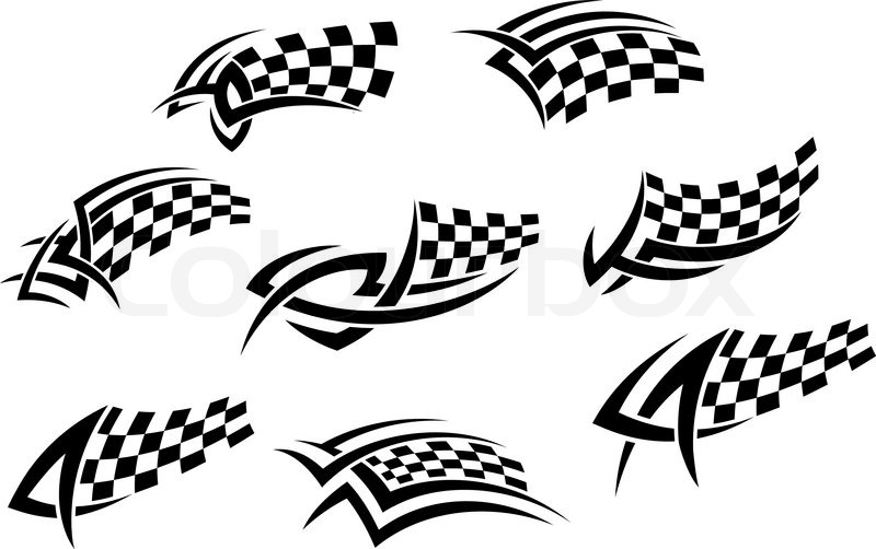 Checkered Flags In Tribal Style Stock Vector Colourbox