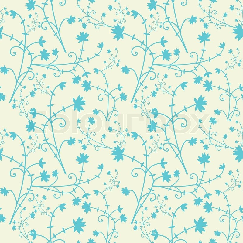 Blue Seamless Floral Pattern On Light Stock Vector Colourbox