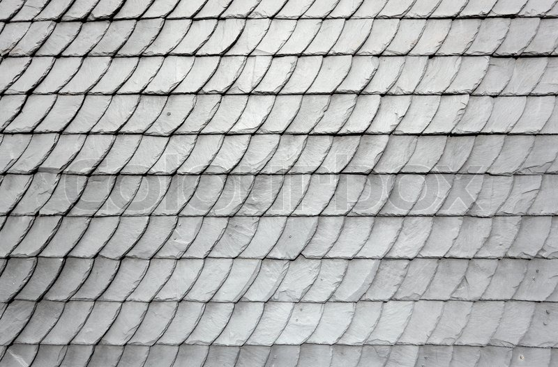 Gray Schist Roof Tiles Of An Old House Stock Photo