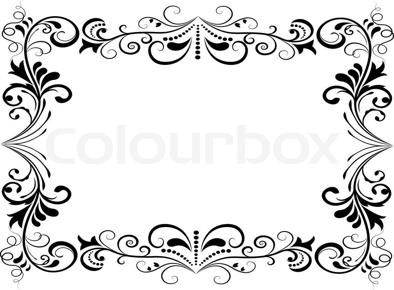 Black and white floral vector frame isolated on white background ...