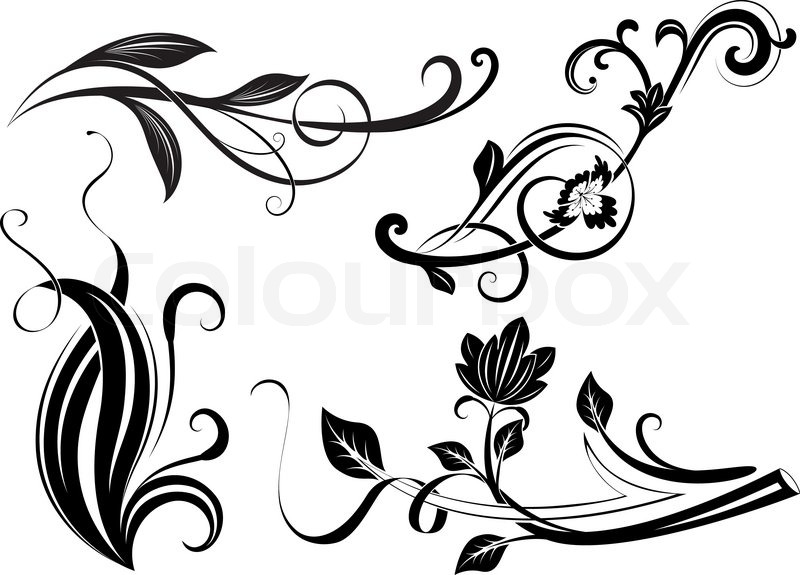 Black And White Floral Branches Design Elements Stock
