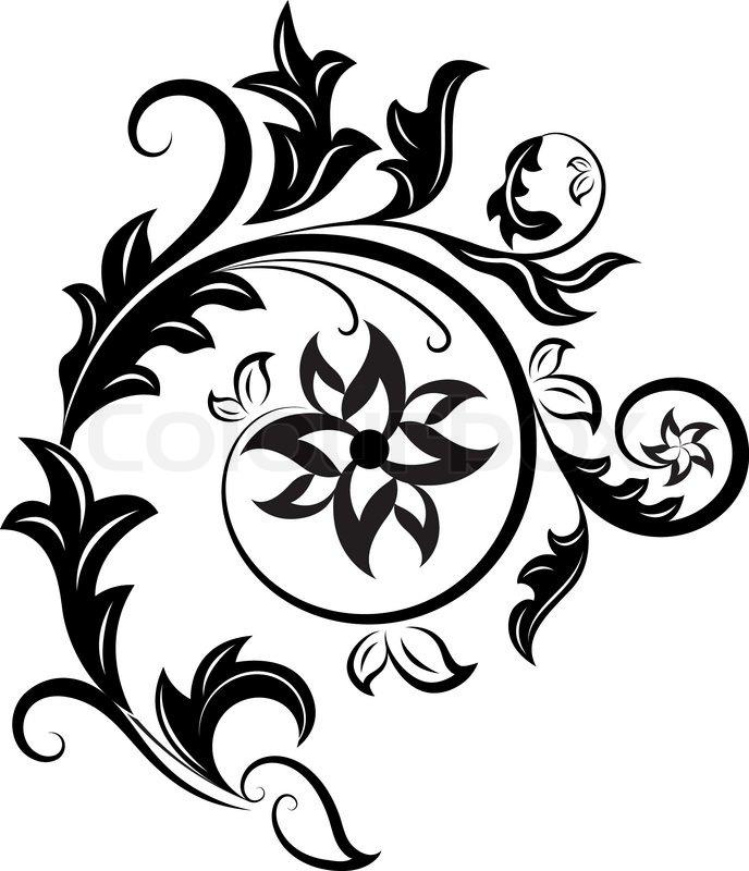 Black And White Floral Design Element ...