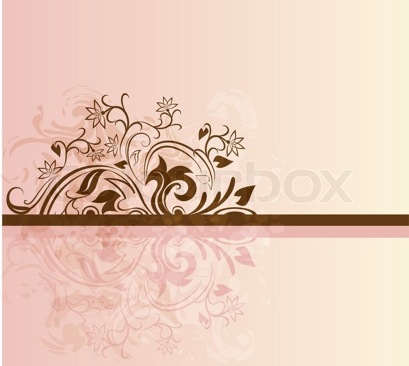Pink And Brown Vector Card With Floral Stock Vector Colourbox