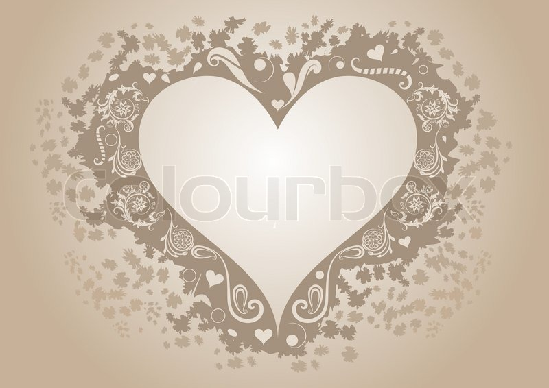 Vintage heart shaped frame with copy space. | Stock Vector | Colourbox