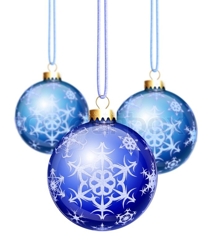 Blue snowflake christmas balls stock photo colourbox