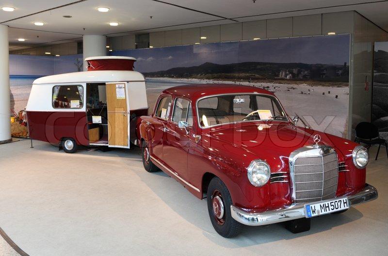 duesseldorf august 27 mercedes benz w120 car from 1962 with eriba puck caravan at the caravan. Black Bedroom Furniture Sets. Home Design Ideas