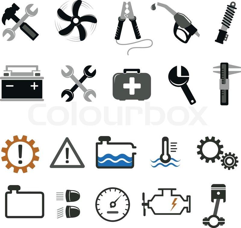 Kfz-Mechaniker und Service-tools-Symbole | Vektorgrafik | Colourbox
