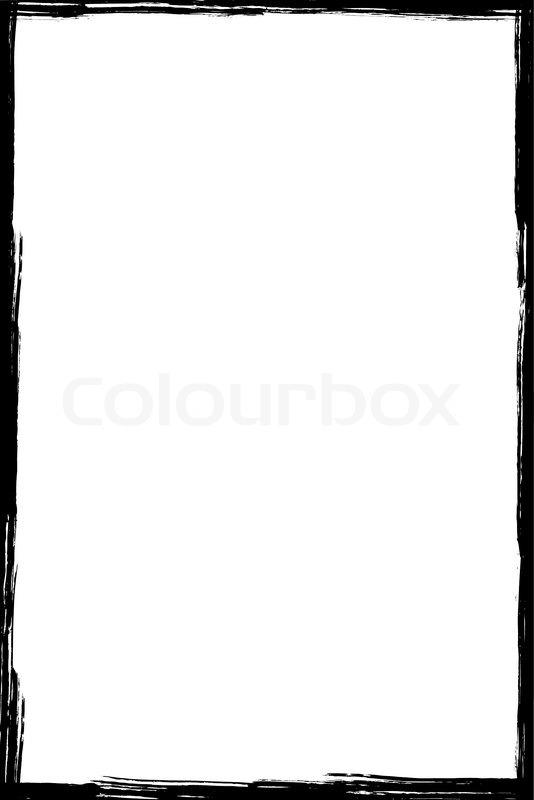 Black Grunge Frame Isolated On White Background Stock