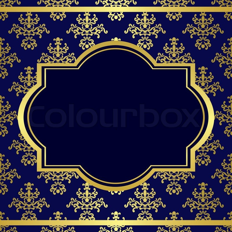 dark blue background with center gold frame stock photo colourbox
