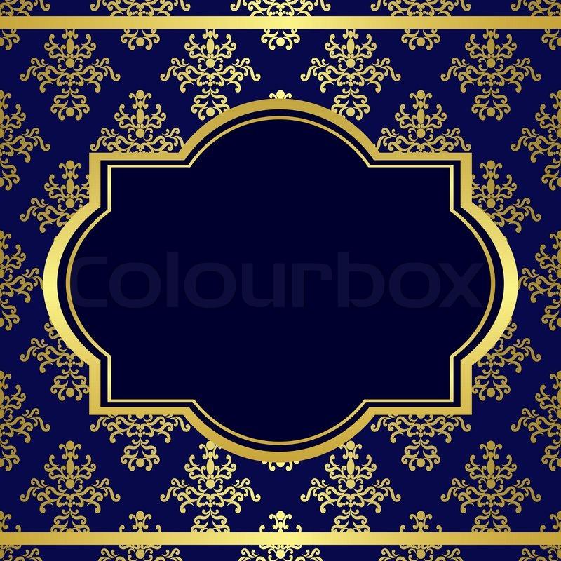 Dark blue background with center gold frame | Stock Photo ...