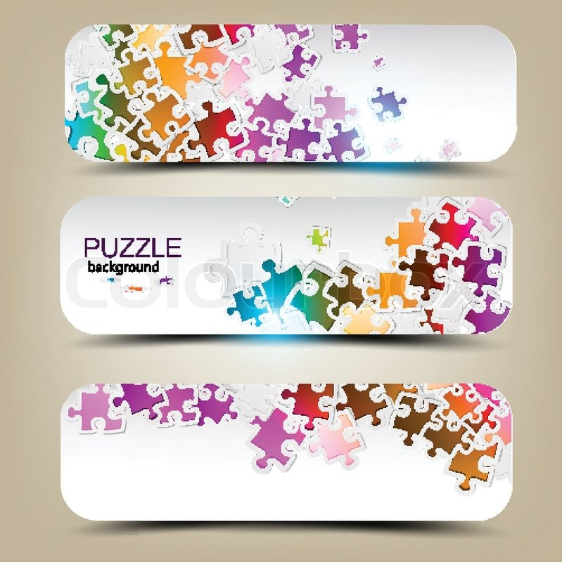 Set of three banners with mosaic made from puzzle pieces stock set of three banners with mosaic made from puzzle pieces stock vector colourbox colourmoves