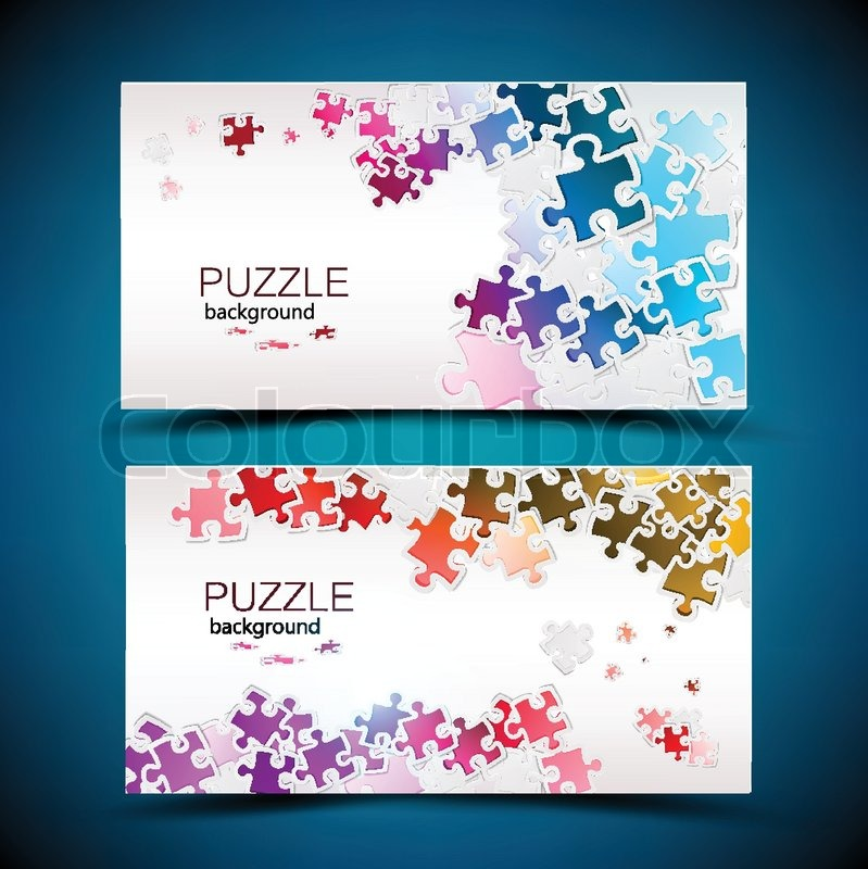 Business cards with mosaic made from puzzle pieces stock vector business cards with mosaic made from puzzle pieces stock vector colourbox colourmoves