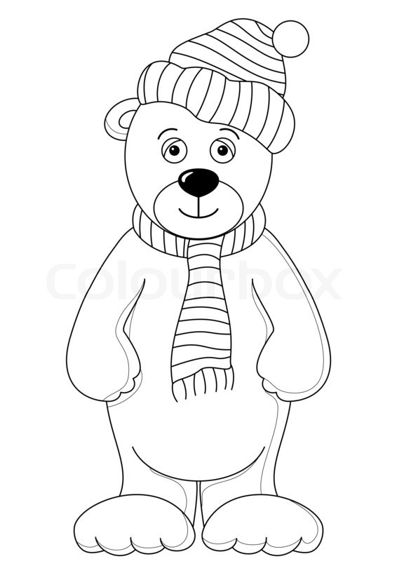 Teddy in cap and scarf contours Stock Photo Colourbox