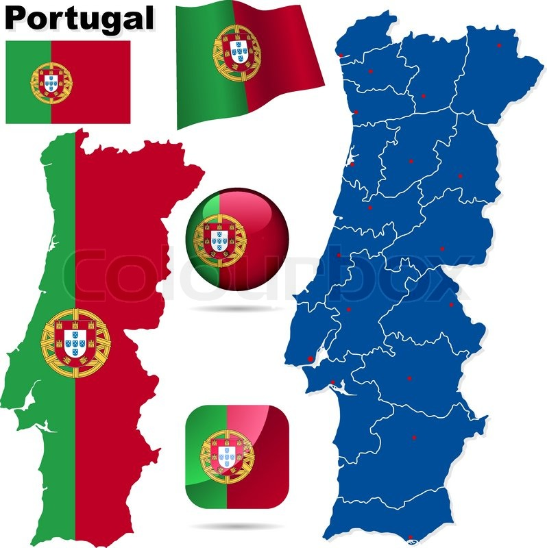Portugal Vector Set Detailed Country Shape With Region Borders - Portugal map icon