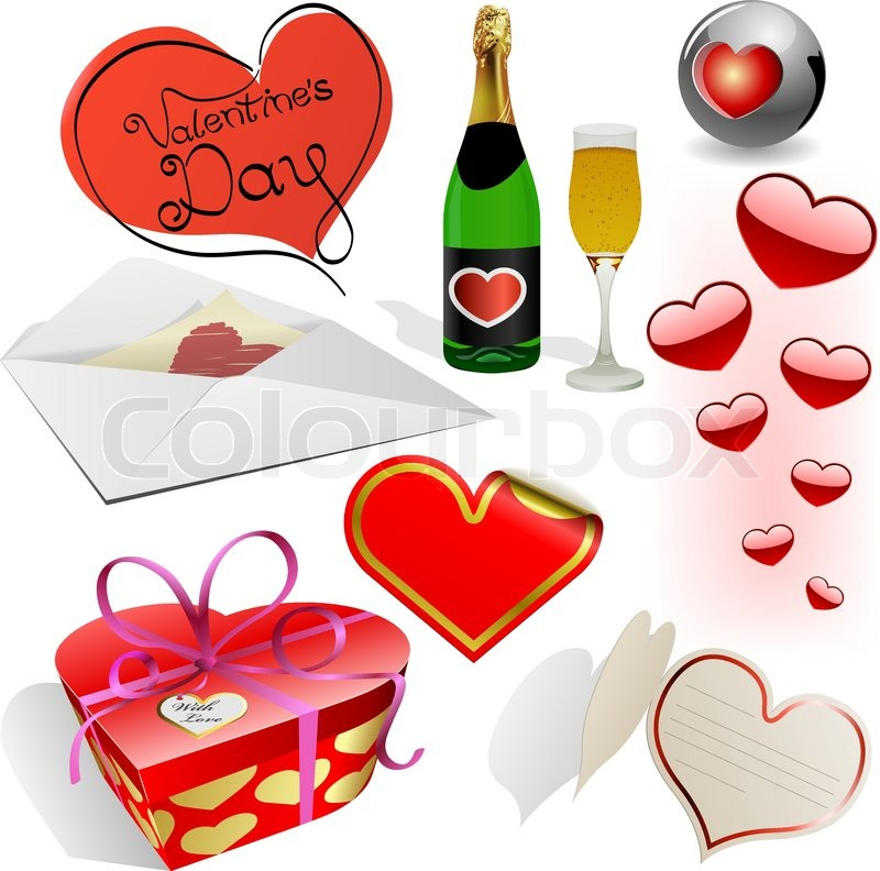 Valentine S Day Vector Set Different Holiday Symbols Isolated On