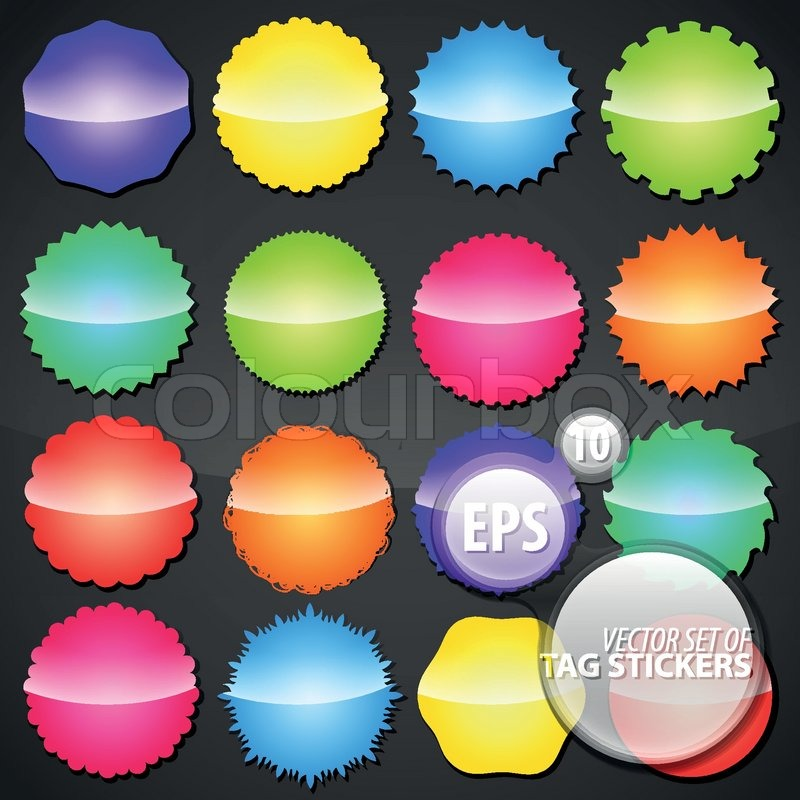 Collection of colorful shimmer glossy eps10 round vector stickers in 16 different shape variations stock vector colourbox