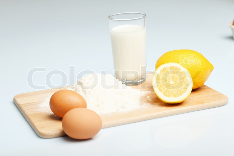 Different products to make bread on the table, stock photo