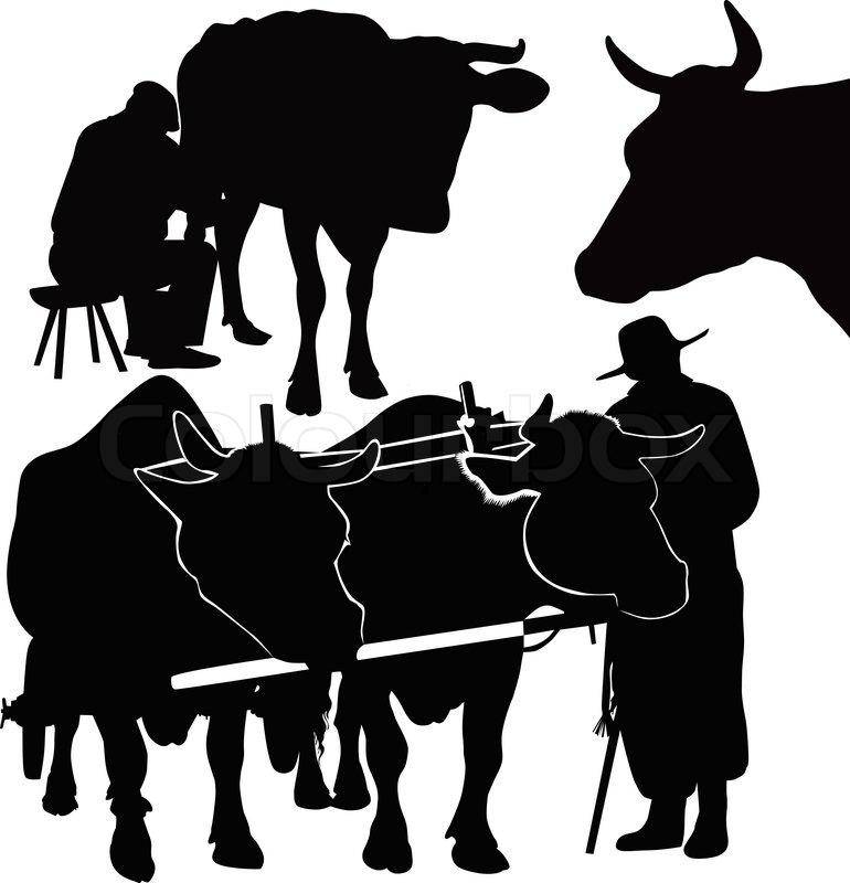 Kuh ein Kalb-Tiere | Vektorgrafik | Colourbox