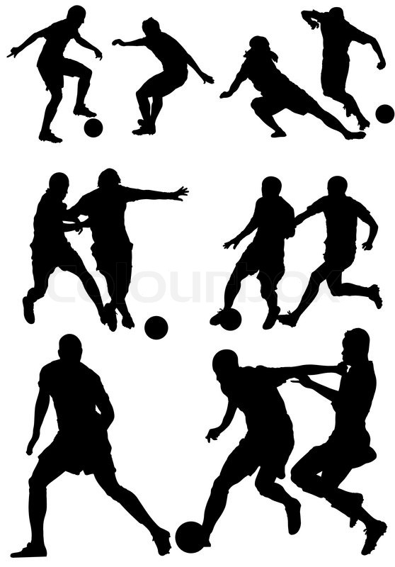 soccer silhouettes players.football players silhouettes. | stock