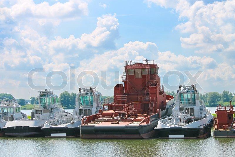 New tugboats at a Dutch shipyard     | Stock image | Colourbox