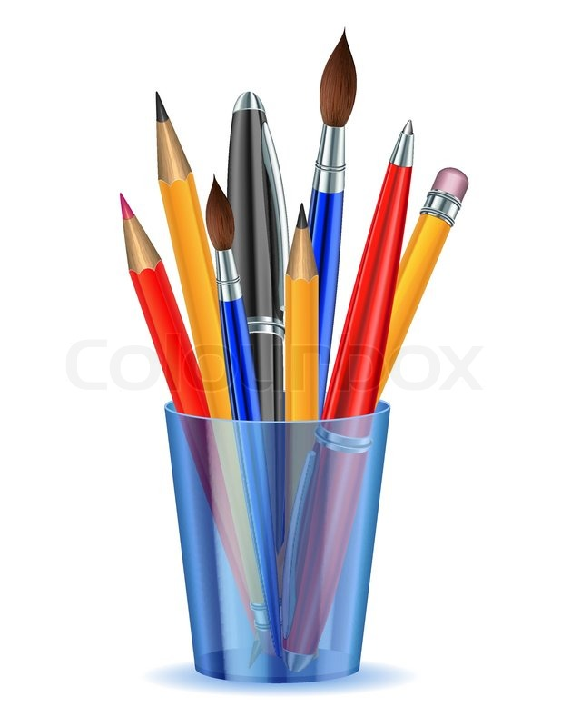 Cartoon Pencils And Pens Brushes, pencils and pens in