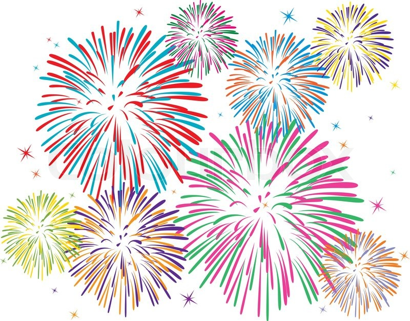 Vector colorful fireworks on white background | Stock ...