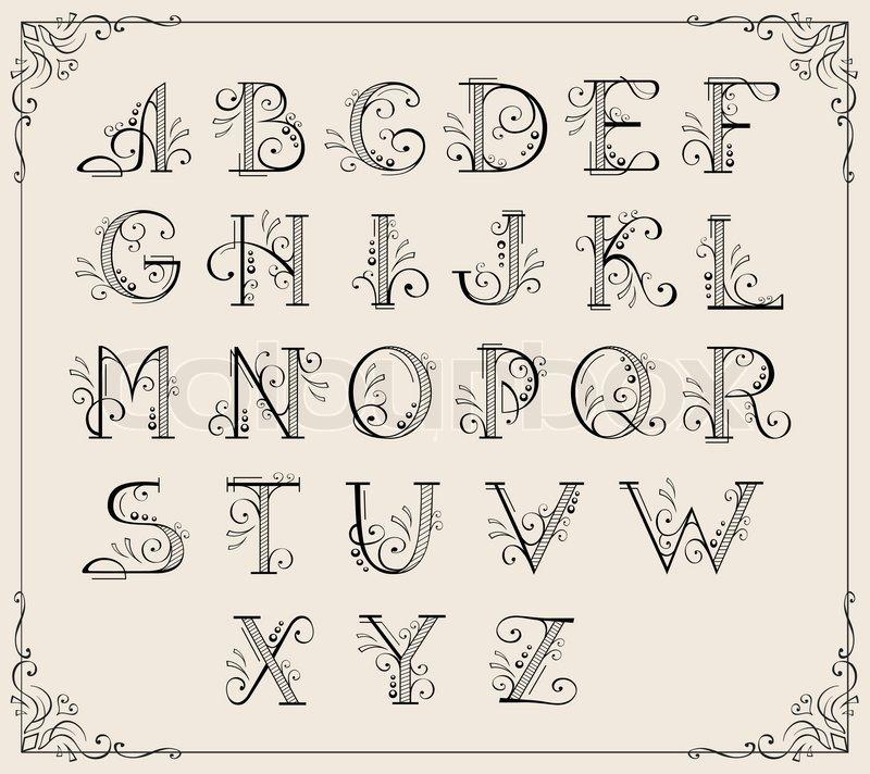 kalligraphische alphabet vektorgrafik colourbox. Black Bedroom Furniture Sets. Home Design Ideas