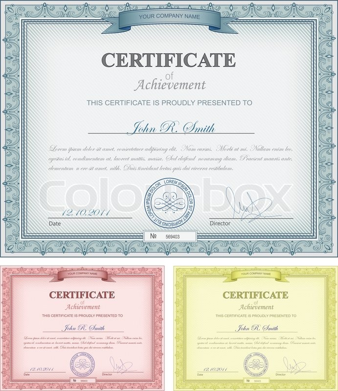Multicolored Detailed Certificates Stock Vector Colourbox