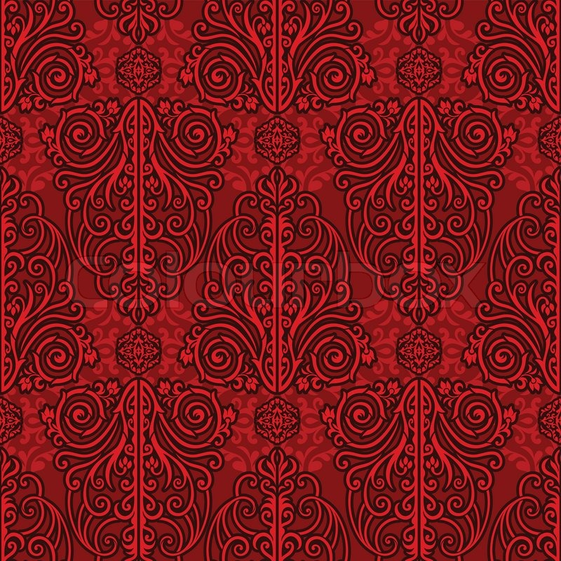 4647685 abstract red background royal monochrome damask ornament beautiful vintage rich seamless pattern luxury vector wallpaper floral oldest style fashioned arabesque fabric for decoration and design